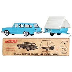 1964 Buddy L Station Wagon & Camping Trailer in Original Box