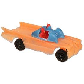 c.1966 Unknown Origin Salmon Colored Batmobile with Figures