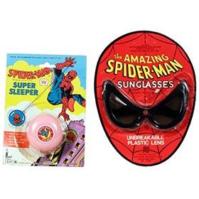 1977 Spiderman Sleeper Yo-Yo & Sunglasses on Original Cards