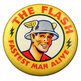 1942 The Flash, Fastest Man Alive Golden-Age Tin Button