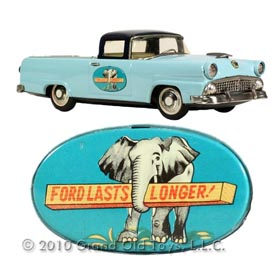 1956 Bandai, Tin Litho Ford Pick-Up with Elephant Emblem