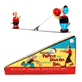 1957 Linemar Popeye Olive Oyl Playing Ball with Original Box