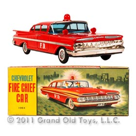 1959 Ichiko Chevrolet Impala Fire Chief Car In Original Box