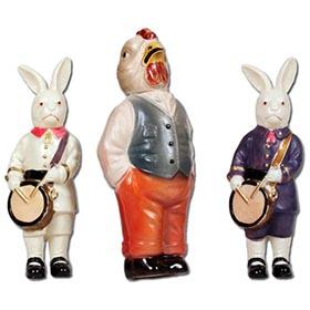 1920 Nagamine Rabbit Drummers,Viscoloid Grandpa Rooster