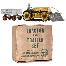 1939 Marx Tractor, Trailer & V-Shaped Plow Set in Original Box