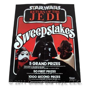 1983 Kenner Star Wars Return Of Jedi Sweepstakes Poster