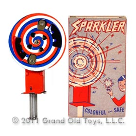 c1955 Chein Red White And Blue Sparkler In Original Box