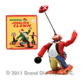 c.1956 TPS Mechanical Juggling Clown In Original Box