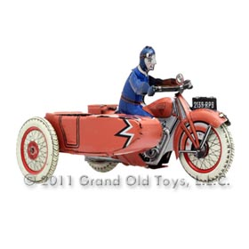 c.1930 SFA France Tin Litho Motorcyclist with Sidecar