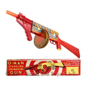 1951 Marx, G-Man Sparkling Sub-Machine Gun In Original Box