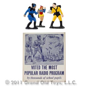 1934 Set Of 3 Buck Rogers Cocomalt Figures with Leaflet