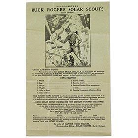 1939 Buck Rogers Solar Scouts Enlistment Form