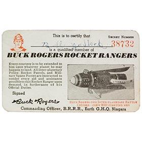 1944 Buck Rogers Rocket Rangers Membership Card