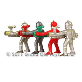 c.1952 Selcol England 4 Space Figures with Bazookas