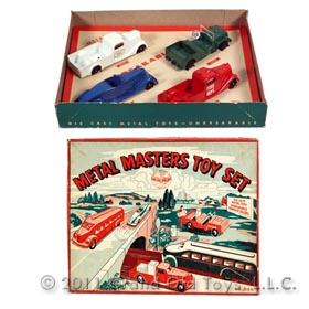 c.1947 Metal Masters 4pc Toy Set In Original Box