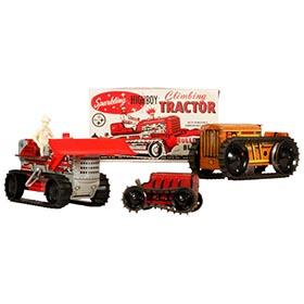 1935-59 Marx, 3 Clockwork Tractors, 1 in Original Box