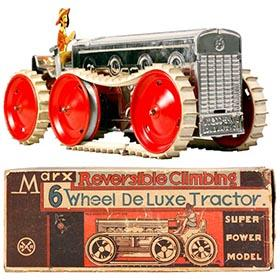 1931 Marx, Reversible Climbing 6-Wheel Tractor in Original Box
