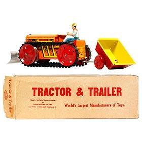 c.1941 Marx Tractor, Trailer & Plow Set in Original Box