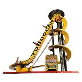 "c. 1921 Max Moschkowitz (Germany), Clockwork ""Toboggan"" with Original Cars"