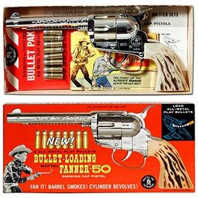 c1959 Mattel Fanner-50 Smoking Cap Pistol in Original Box