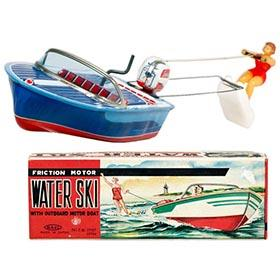 c.1956 Haji Water Skier w/Outboard Motor Boat in Original Box