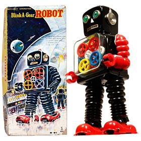 c.1958 Taiyo, Blink-A-Gear Robot in Original Box