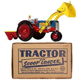 1952 Marx Tractor with Scoop Loader in Original Box