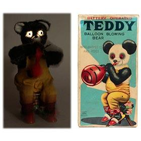 c.1958 Alps, Teddy Balloon Blowing Bear in Original Box