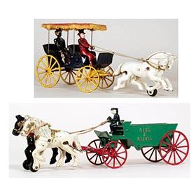 1950/52 Two Kenton Cast Iron Twin Horse Drawn Vehicles