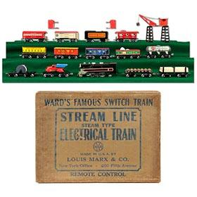 1942 Marx, Montgomery Ward Switch Train Set in Original Box