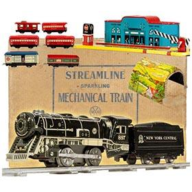 1941 Marx Montgomery Ward Mechanical Reverse Train Set in Original Box