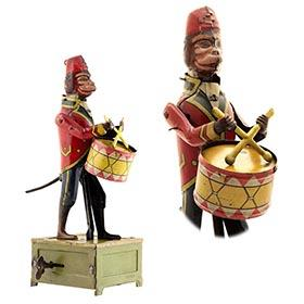 1928 Distler, Clockwork Parading Monkey Drummer with Fez