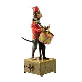1928 Distler, Clockwork Parading Monkey Drummer with Fez 2