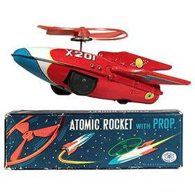 c.1955 Masudaya Atomic Rocket X201 w/Propeller in Original Box