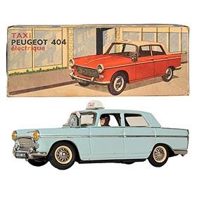 c.1960 Joustra, Battery Operated Peugeot 404 Taxi Sedan in Original Box