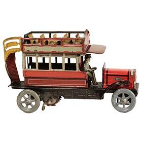 c. 1912 Distler Double Decker Clockwork Bus with Driver
