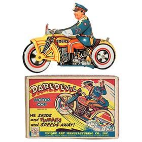 1933 Unique Art, Daredevil Motor Cop in Original Box