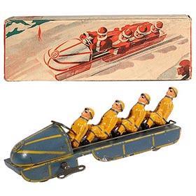 c.1949 Cie Industrielle Jouet, 4-Man Bobsled in Original Box