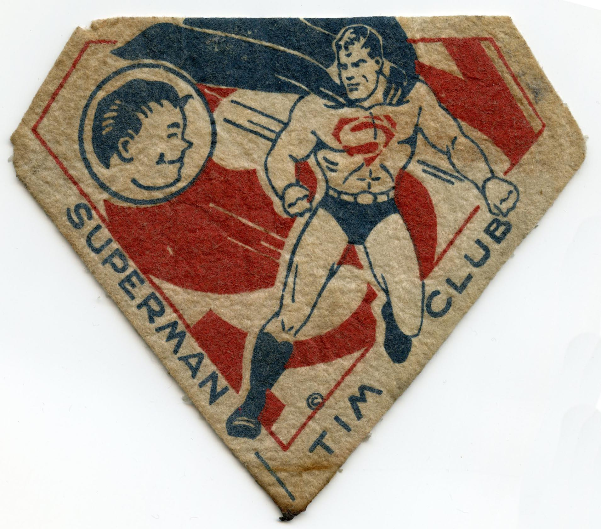 1940's Superman-Tim Club, Large Felt Patch