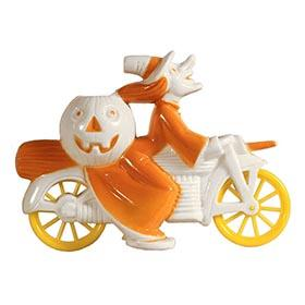 c.1952 Tico Toys/Rosbro, Orange Halloween Witch on White Motorcycle