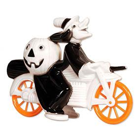 c.1952 Tico Toys/Rosbro, Black Halloween Witch on White Motorcycle