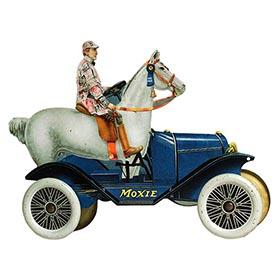 1917 Mfg. Unknown, Moxie Blue Horsemobile Tin Litho Display