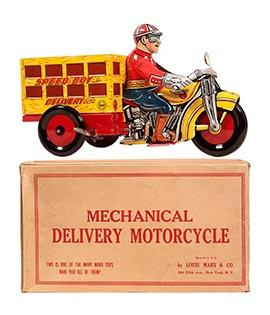 1938 Marx, Mechanical Speed Boy Delivery Motorcycle in Original Box