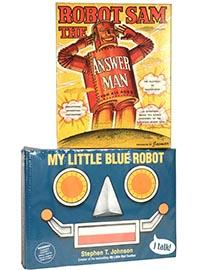 Two Robot Toys; c.1955 Sam Answer Man & 2002 My Little Blue Robot