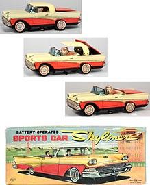 1958 Kosuge, Batt. Op. Sports Car (Ford) Skyliner in Original Box