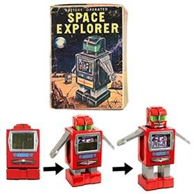 c.1959 Yonezawa, Batt. Op. (TV) Space Explorer Robot in Original Box