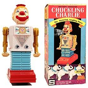 c.1969 Yonezawa, Chuckling Charlie Laughing Clown Robot in Original Box