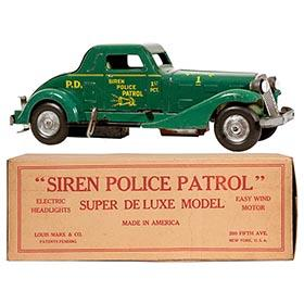 1933 Marx, Siren Police Patrol Car, Super Deluxe Model in Original Box
