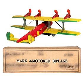 1936 Marx, TWA 4-Motored U.S. Mail Biplane in Original Box