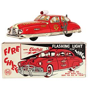 1950 Marx, Fire Chief Car w/Flashing Light & Siren in Original Box